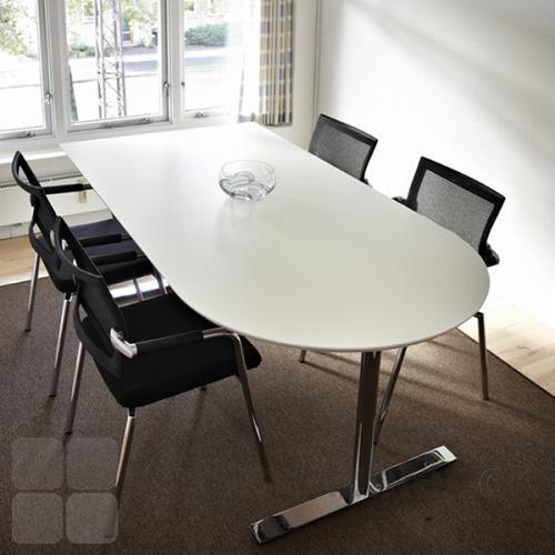 Delta bord med specialplade i hvid laminat samt krom-stel