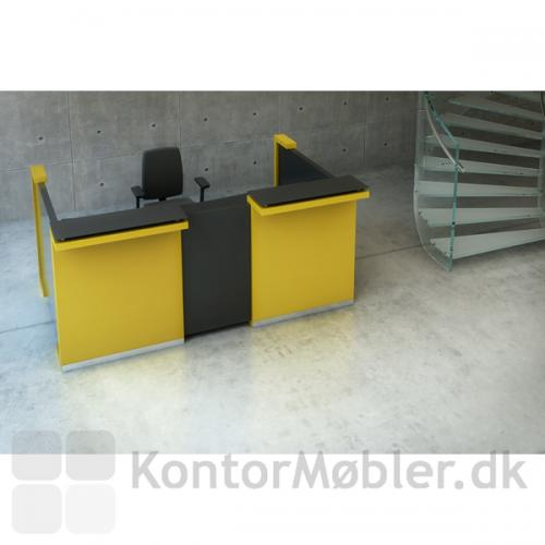Delta skranke i opstilling med 2 grundmoduler, gul.