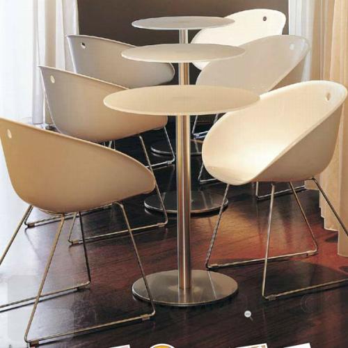 Cafébord med Inox søjle i krom og hvid bordplade