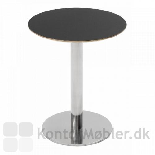 Cafébord med sort linoleums bordplade og Inox stel i krom