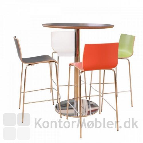 Cafébord med bordplade i sort linoleum og Inox søjle i krom