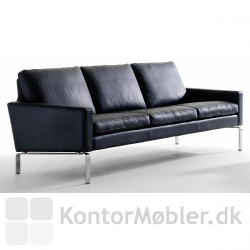 Firenze 3 pers. sofa med sort læder.