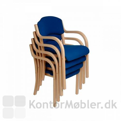 Tina mødestol i blå med stel i ahorn bejdset bøg. Stablet.