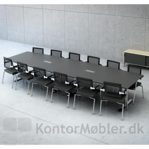 Konferencebord fra Dencons Delta-serie- Her med linoleum og forkromede ben