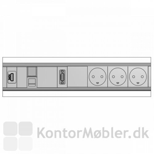 Elpanel til konferencebord med HDMI, VGA og Netværksstik