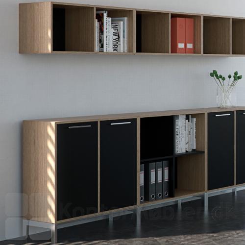 Overreol til bøger og mapper, i samme stil som kontor indretningen