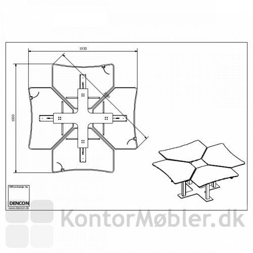 Stregtegning fra Dencon af enkelt-søjlede hæve sænke borde sat i ø - 4 x 2485 plader