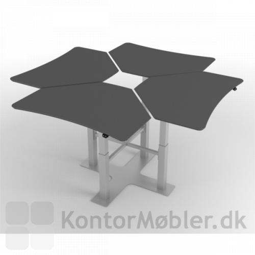 Delta enkelt-søjle hæve sænke borde - opstillet i gruppe med 4
