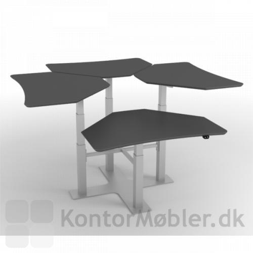 Delta enkelt-søjle hæve sænke borde i gruppe