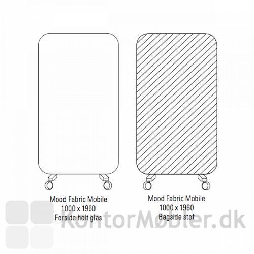 Mood Fabric Mobile 100x196 cm, forside med Mood glas og bagside med Blazer Lite/Synergy