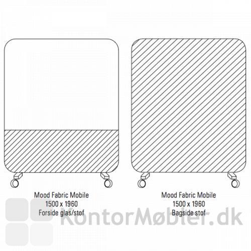 Mood Fabric Mobile 150x196 cm, forside med kombineret Mood glas og Blazer Lite/Synergy. Bagside med Blazer Lite/Synergy