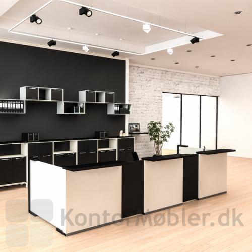 Receptions skranke Delta 2.0 med grundmodul i hvid og fleksplade i sort