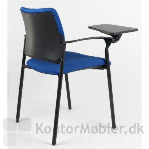 Rocky mødestol med armlæn og skriveplade - vælges polstret ryg, er det bagerste af rygge ikke polstret