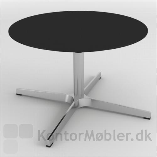 Frigg Lounge Bord med poleret aluminiumsstel og bordplade i antracitgrå linoleum