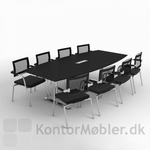 Delta konferencebord med sort overflade