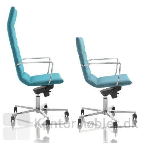Shiny Multi kontorstol kan vælges med to forskellige ryg højder