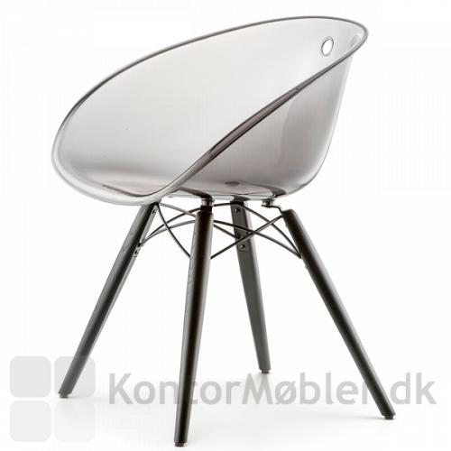 Gliss Wood 905 med sæde i transparent mørkegrå akryl