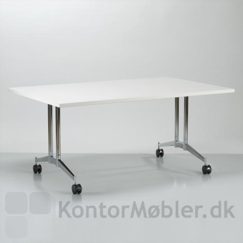 Contact foldebord med hvid bordplade og blank forkromet stel