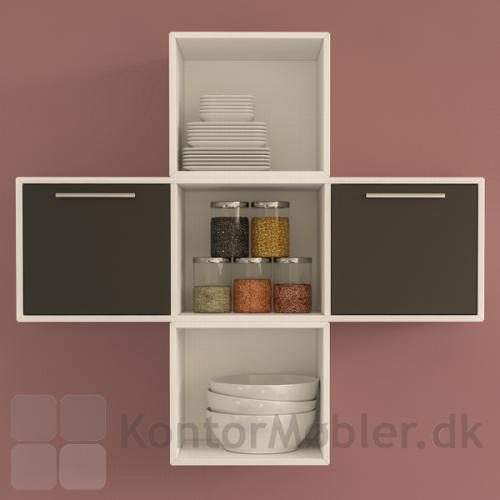 Delta 2.0 reol væghængt og kombineret med bogkasse med 1 rum