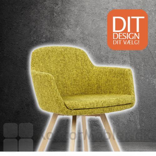 Fire mødestol kan fås med forskellige sædepolstring og steltyper