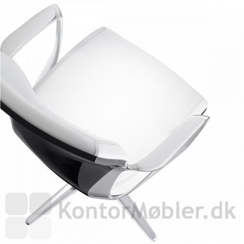 Moteo Style drejestol polstret med hvid læder
