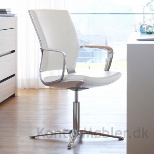 Moteo konferencestol med hvid læder polstring