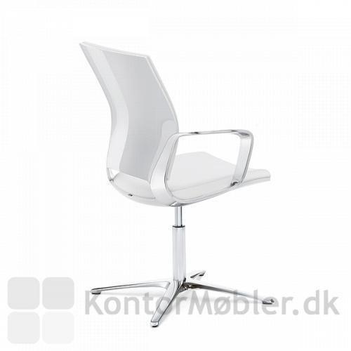 Moteo konferencestol med hvid højglans ryg og silver armlæn