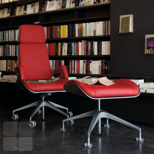 Silver kontorstol med rød læder polstring
