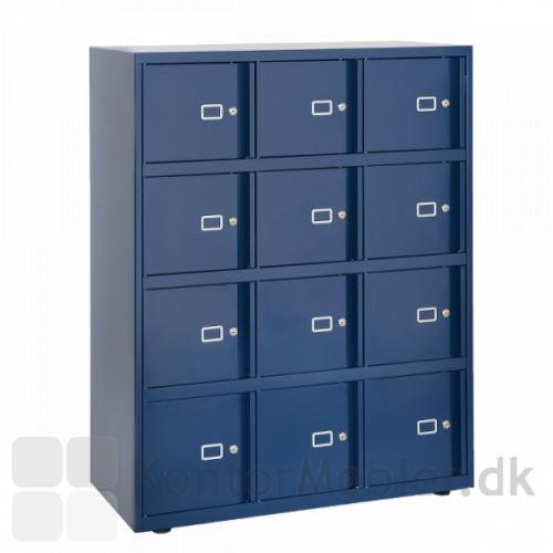 Lockers med 12 rum i mørkeblå, giver tryg opbevaring af værdigenstande