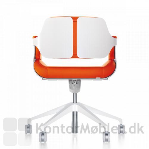 Silver 162S gæstestol med hvidlakeret ryg og stel
