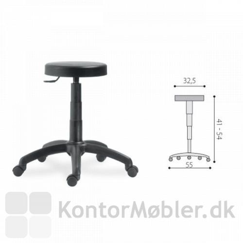 DUKE taburet har en sædehøjde fra 41 til 54 cm