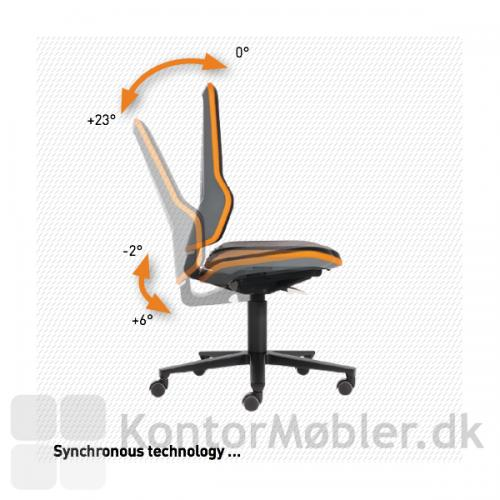 Neon industristol med synkron mekanisme, ryg og sæde vipper i en samlet bevægelse