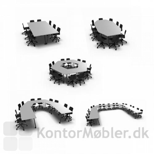 Kombiner den rektangulære og trapezoid bordplade og Four Fold bordet får nye opstillings muligheder