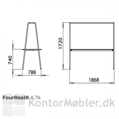 Four Real A multifunktionsmøbel, mål oversigt for bordhøjde 74 cm