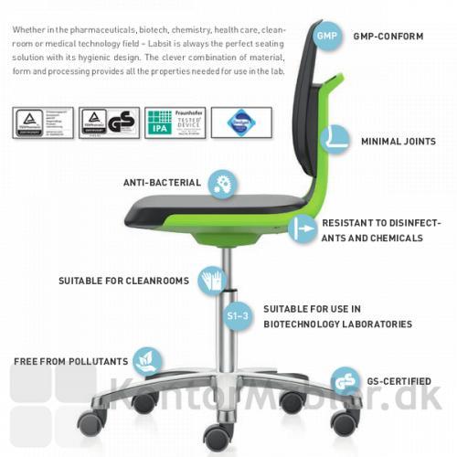 Labsit stol egner sig også til cleanrooms og sikkerhedslaboratorier