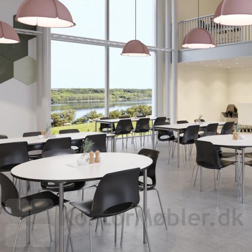 Delta kantinebord kan vælges med bordplade i flere størrelser