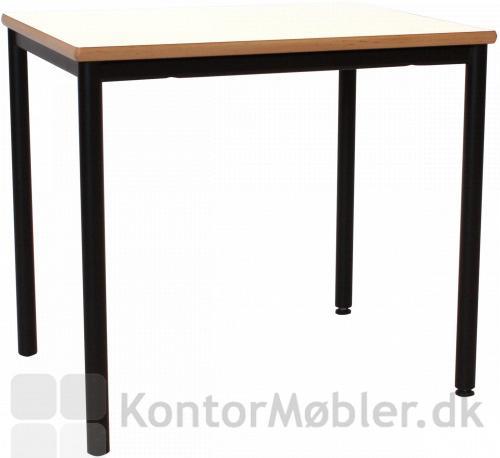 Kantinebord hvid med bøg kant