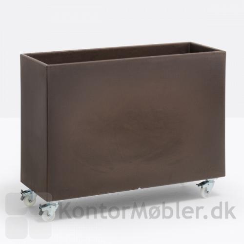 KADO plantekasse i brun med stålhåndteringsvogn