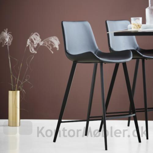 Hype barstole i sort kunstlæder