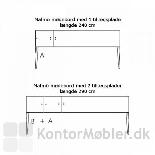 Malmö udtræksbord med 2 tillægsplader