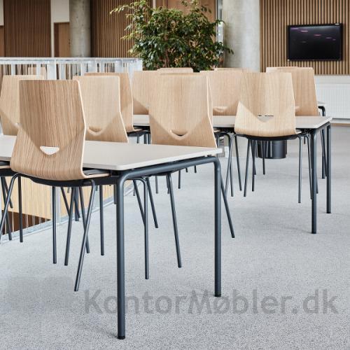 Four Real 74 kantinebord med hvid bordplade og mat sorte ben
