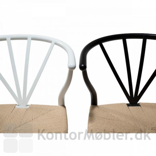 Vælg Delta fletstol i sort eller hvid pulverlakeret metal stel.