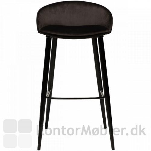 Dan-Form Dual barstol i nordisk stil til den moderne indretning. Her i det blødeste sorte velour.