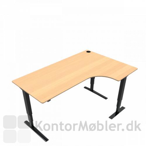 Conset 501-43 hæve sænke bord med højre vendt bordplade i bøg finér. Kontakt os for yderligere information