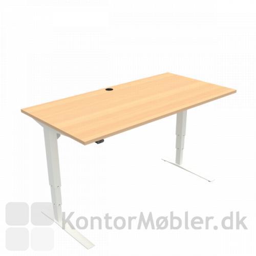 Conset 501-43 hæve sænke bord med bordplade i bøg melamin 160x80 cm med hvide ben