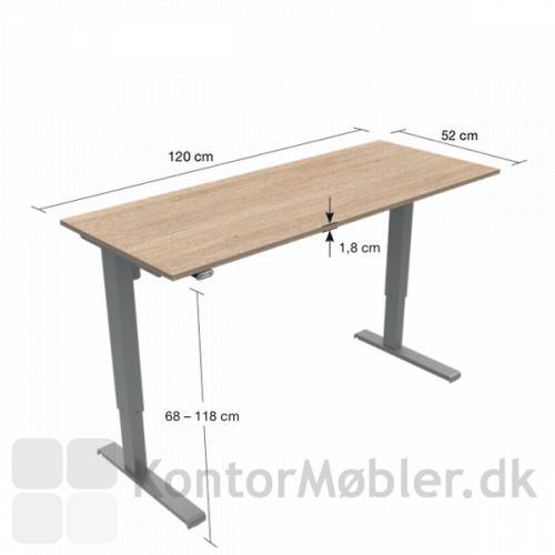 Basic hæve sænke bord har en højdevandring fra 68 til 118 cm