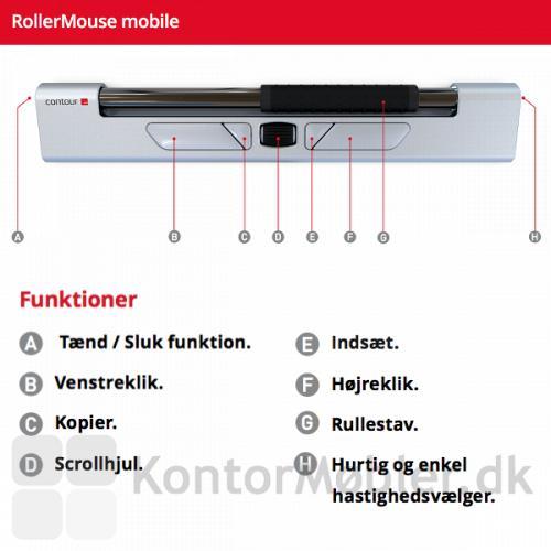 Contour Rollermouse mobile med de vigtigeste funktioner