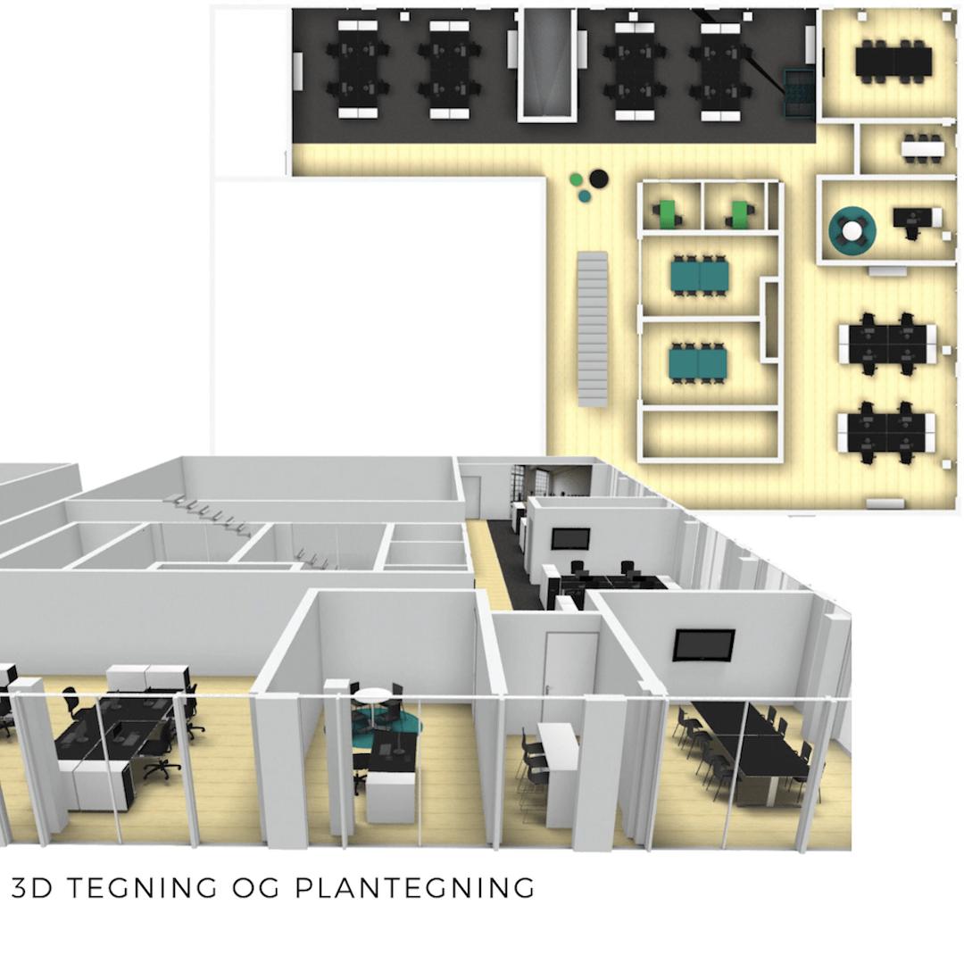 3D tegning og plantegning eksempel